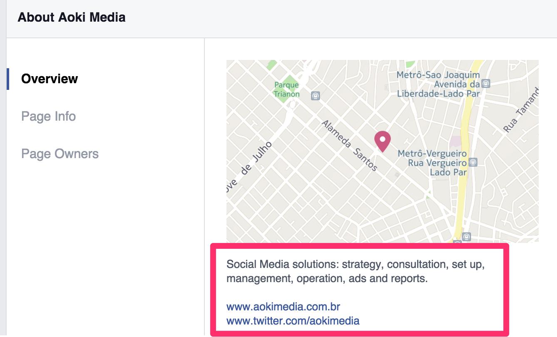 Facebook Aoki Media: divulgação de site e Twitter