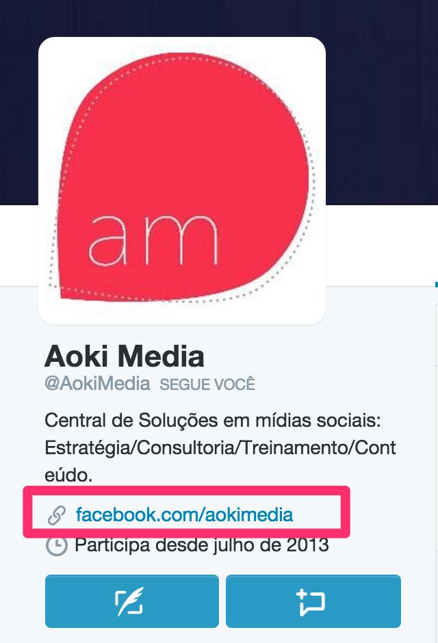 No Twitter da Aoki Media é também divulgada a conta do Facebook da empresa.
