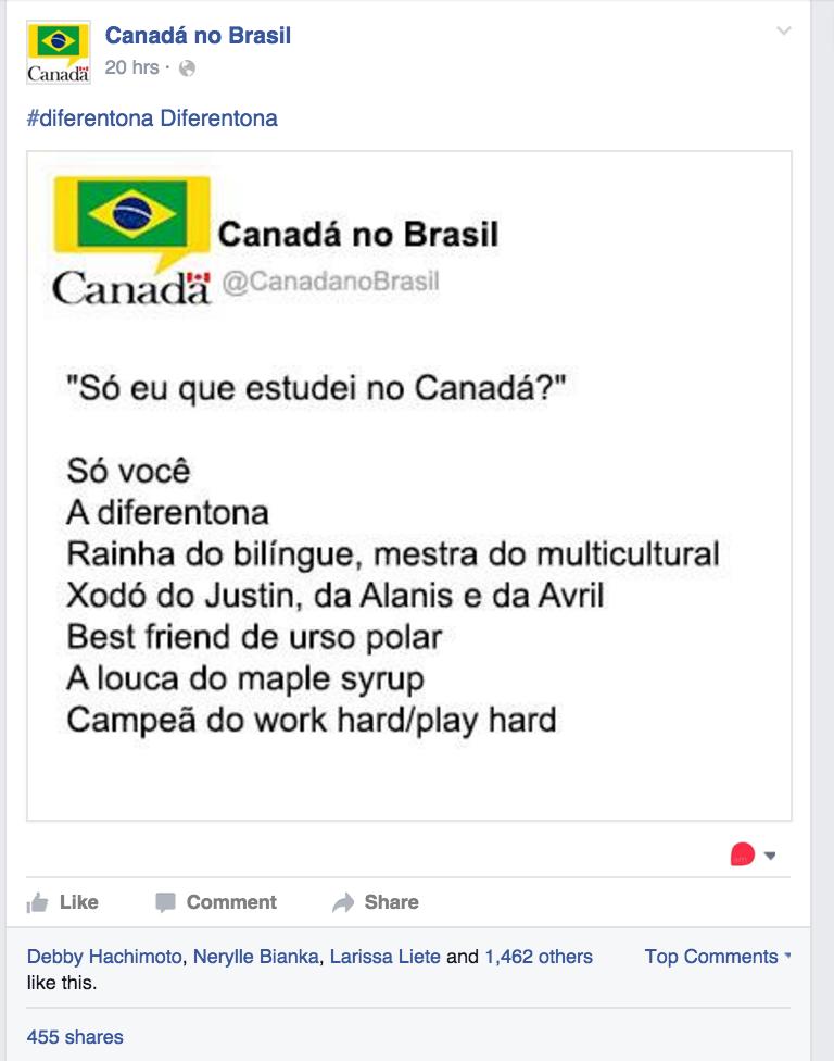 Produção de conteúdo do Facebook da Embaixada do Canadá captou alguns memes que circulam na internet para viralizar postagens.