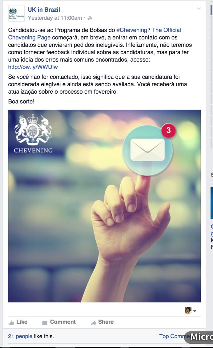 Identidade visual definida nos posts da Embaixada Britânica.