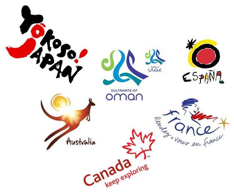 Construções de marcas de alguns países: Canadá, Austrália, Espanha, França e Japão estão entre as que mais investem em nation branding.
