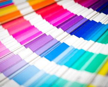 Colour swatches book. Rainbow Pantone sample colors catalogue.